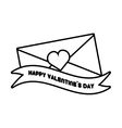 happy valentines day card envelope ribbon heart vector image vector image