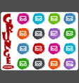 mail and envelope icons set in grunge style vector image vector image