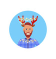 man wearing deer horns merry christmas happy new vector image