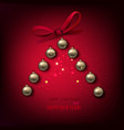 merry christmas tree make from golden balls vector image