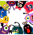 monsters frame card vector image vector image