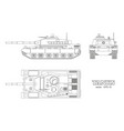realistic tank blueprint outline armored car vector image