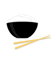 Rice bowl with two chopsticks vector image vector image