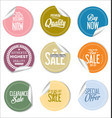 round sale stickers on white background vector image vector image