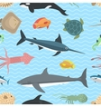Sea animals seamless pattern vector image
