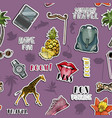 seamless pattern with stickers traveling concept vector image vector image