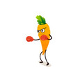 serious carrot character in boxing gloves punching vector image vector image