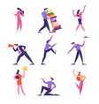 set business people loaded with work yelling vector image vector image