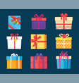 set gift box presents wrapped package icons vector image vector image