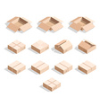Set of 12 realistic isometric cardboard boxes with vector image vector image