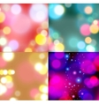 Set of backgrounds with bokeh lights vector image vector image