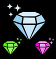 set of jewel gem icon blue diamond pink ruby and vector image vector image