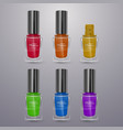 set of realistic nail polishes of bright colors vector image vector image