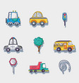 set transportation and road elements patches vector image vector image