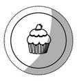silhouette emblem muffin icon vector image vector image