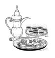 sketch drawing ethnic arabic cup and copper