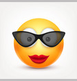 smiley with glassessmiling emoticon yellow face vector image vector image