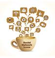 social media concept with coffee mug vector image vector image
