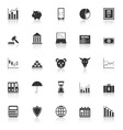 Stock market icons with reflect on white vector image vector image