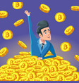 successful businessman in pile of bitcoin coins vector image