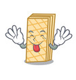 tongue out waffle mascot cartoon style vector image vector image