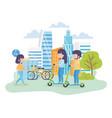 urban ecology young man and woman riding kick vector image vector image
