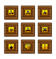 Wooden crates with danger signs vector image vector image