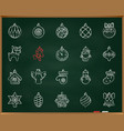 xmas tree decor chalk draw line icons set vector image