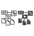zip folder line and glyph icon archive folder vector image vector image