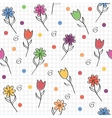 hand drawn seamless pattern with funny colored vector image