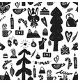 seamless forest christmas pattern vector image