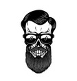 bearded skull in sun glasses design element for vector image vector image