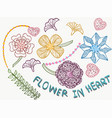 beauty flower in heart vector image