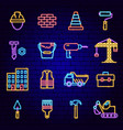 building construction neon icons vector image
