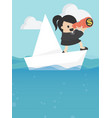 business woman with paper folding boat vector image vector image