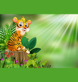 cartoon happy tiger sitting on tree stump with gre vector image vector image