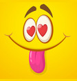 cartoon monster face in love st valentines day vector image vector image