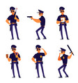 cartoon policeman pose set - isolated man in vector image vector image