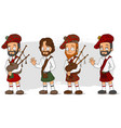 cartoon scottish with bagpipe characters set vector image vector image