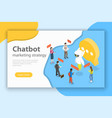 chatbot markting strategy flat isometric vector image vector image
