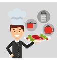 chef avatar cooking food icon vector image vector image
