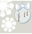 Christmas bauble with bow and snowflakes vector image vector image