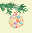 christmas card pine tree branch vector image vector image
