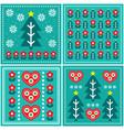 christmas folk art pattern set design vector image vector image