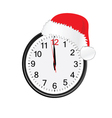 christmas red hat on clock vector image