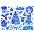 Christmas watercolor set vector image vector image