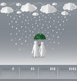 concept of man holding umbrella with women vector image vector image