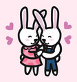 cute couple rabbits cartoon vector image vector image