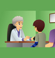 doctor talking to a kid patient vector image