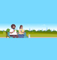 fat obese couple sitting wooden bench eating ice vector image vector image